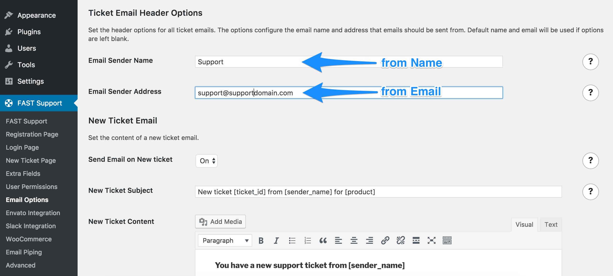 Email Header Options