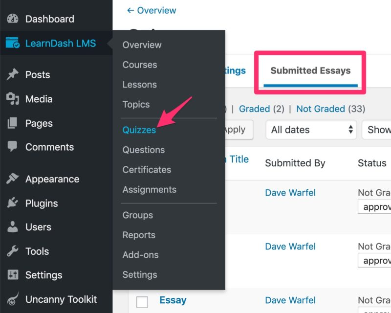 LearnDash submitted essays tab in admin