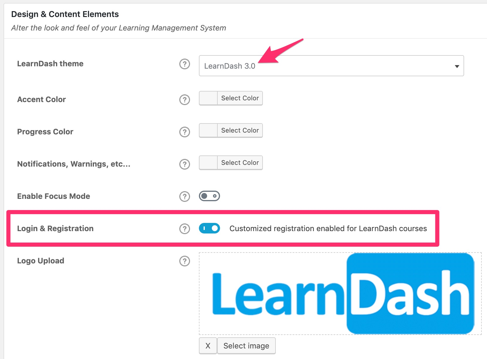Enable LearnDash login & registration in settings
