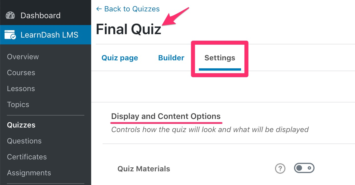 LearnDash quiz display & content settings access