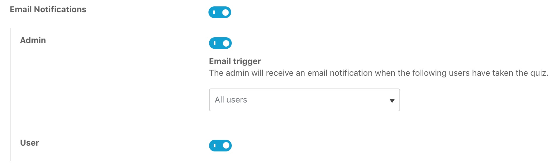 How to enable quiz email notifications in admin